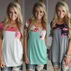 New Fashion Women Patchwork Floral Printed Short Sleeve T-Shirt Casual Tops