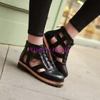 New Women's Roman Shoes Hollow Out Breathable Low Heel Pu Leather Casual Chic99