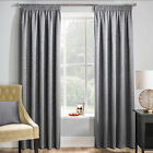 Grey Woven Thermal Blockout Tape Top Curtain With Embossed Textured Design