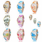 Women Girl Flowers Printing Silicon PU Leather Glass Watch Quartz Wristwatch