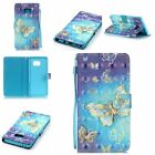 For Samsung Galaxy 3D Gold Butterfly Pattern Leather Flip Wallet Case Card Cover