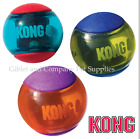 3-Pack KONG SQUEEZZ ACTION BALLS - SMALL Multi-Textured TPR Squeaker Fetch Ball
