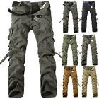 Men's Fashion Cotton Military Baggy Cargo Pleated Combat Camouflage Long Pants