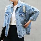 New Fashion Womens Loose Cool Denim Ripped Hole BF Style Bead Coat Jeans Jacket