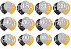 Gold Black & Silver Happy Birthday Special Age Air or Helium Fill Balloons 6pk