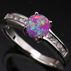Superb Pink Fire Opal Little Circle Topaz Silver Ring Size 6 7 8 9 T1154