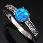 Direct selling Blue Fire Opal Circle Topaz Silver Ring Size 6 7 8 9 T1155