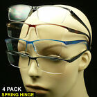 Reading glasses 4 pack rimless lens spring hinge power lot men women