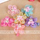 1PCS Mixed Five Petals Flower Galloon Hair Clips With Pearl For Girls Babies