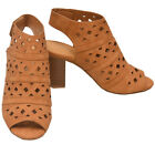 Love Mark Adult Tan Cut-Out Heeled Trendy Peep Toe Boot Sandals 6-10 Women