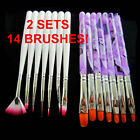 2 Sets 14 pcs Nail Art Pen Brush Tool UV Gel Acrylic Painting Drawing Pen Polish