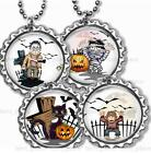 Halloween Characters Bottle Cap Necklace Chain Handcrafted Holiday Gift Jewelry