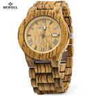 Bewell W109B Luxury Men's Women's Bamboo Wood Wristwatch Quartz Analog US Stock
