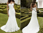 Mermaid Lace White ivory Wedding dress Bridal Gown Stock Size 4 6 8 10 12 14 16