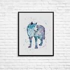 Watercolour Wolf   Wall Print -Nursery Bedroom Various Sizes  10x8, A4, A3