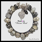 """DanLora Euro Charm Bracelet """"Delicate Heart"""" Crystal White-As Shown In Photos"""