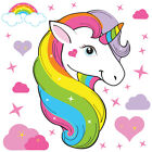 Magical Unicorn Horse & Rainbow Stars Childrens Wall Stickers HeartKiss Unic02