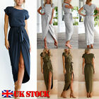 UK Womens Belted Long Maxi Evening Party Cocktail Ladies Summer Beach Sun Dress