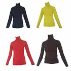Ladies Womens Basic Long Sleeve Jersey Roll Neck Skivvy Top Made In Turkey