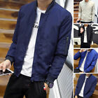 Men's Short Stand Collar Jacket Casual Slim Fit Coat Long Sleeve Outwear Fashion