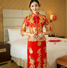 Womens Chinese QiPao Long Red Wedding Bride Dress Evening Embroidery Red S-3XL Y