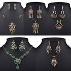Women Vintage Retro Crystal Necklace Resin Pendant Party Earrings Jewelry Set