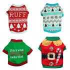 Christmas Small Pet Clothes Dog Santa Sweater Shirt Puppy Hoodies Costumes XS-L