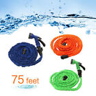 75 Ft Natural Latex Expanded Flexible Garden Water Hose with Spray Nozzle US
