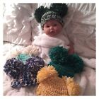 Newborn Baby Hat ~ Newborn Double Pom-Pom Hospital Hat ~ Your Color Choice