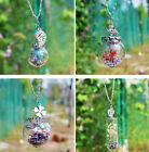 Real Dried Flower Necklace Glass Bottle Pendant Wishing Leaf Memory Jewelry Gift