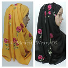 Kyпить Maxi Cotton Polyester Rose Floral Embroidery Hijab Scarf Wrap Muslim Headcover  на еВаy.соm
