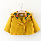 Toddler Baby Girl Clothes Embroidery Trench Coat Wind Jacket Kids Outwear 6M-3T