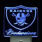 Oakland Raiders Budweiser Bar Day  Night Sensor Led Night Light Sign