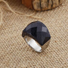 Silver Stainless Steel Large Black Stone CZ Ring in women Men bling Gifts 6-9#
