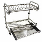 2-Tier Dish Rack 304 Stainless Steel Dry Shelf Kitchen Dishes Bowls Holders