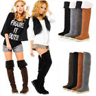 Womens Thigh High Boots Over The Knee Suede Long Winter Boots Shoes Warm