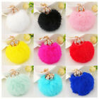 Crown alloy rabbit fur plush ball key chain handbag car pendant fluffy charm