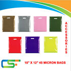 COLOURED STRONG PATCH HANDLE PLASTIC CARRIER BAGS 10