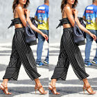 Newly Women Striped Wide Leg High Waist Palazzo Casual Long Pants Loose Trousers