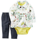 New Carters NB 3 6 9 12 18 24 Month Cardigan Set Outfit Baby Girl Spring Clothes