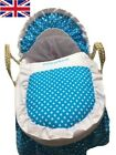 Mother Nurture Moses Basket Dressing in Blue, Black and Pink Color