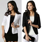 Women's Slim Pretty Slim One Button Short Blazer Suit Jacket Formal Casual Coat