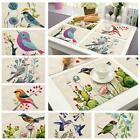 1Pc 42x32cm Kitchen Cotton Linen Birds Pad Placemat Dining Table Mat ED