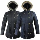 NEW LADIES WOMENS FAUX FUR HOODED ZIP UP BUTTONS PARKA JACKET COAT 10 12 14 16