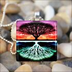 """TREE OF LIFE"" SUNSET COLORS WOOD FOREST GLASS TILE PENDANT NECKLACE KEYRING"