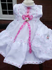 DREAM GIRLS WHITE PINK TRIM SPANISH DRESS & KNICKERS 0-18 MONTHS OR REBORN