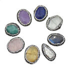 Faceted Natural Gemstone Pave Rhinestones Bracelet Connector Coin Charm Beads
