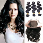 Peruvian 8A Body Wave Human Hair Weft 3 Bundles With 360 Lace Frontal Closure