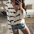 Women Ladies Long Sleeve Loose Blouse Summer Sexy V Neck Casual Shirt Tops