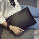 lady Fashion Soft PU Solid Zipper Clutch Bag Wristlet Strap Envelope Handbag